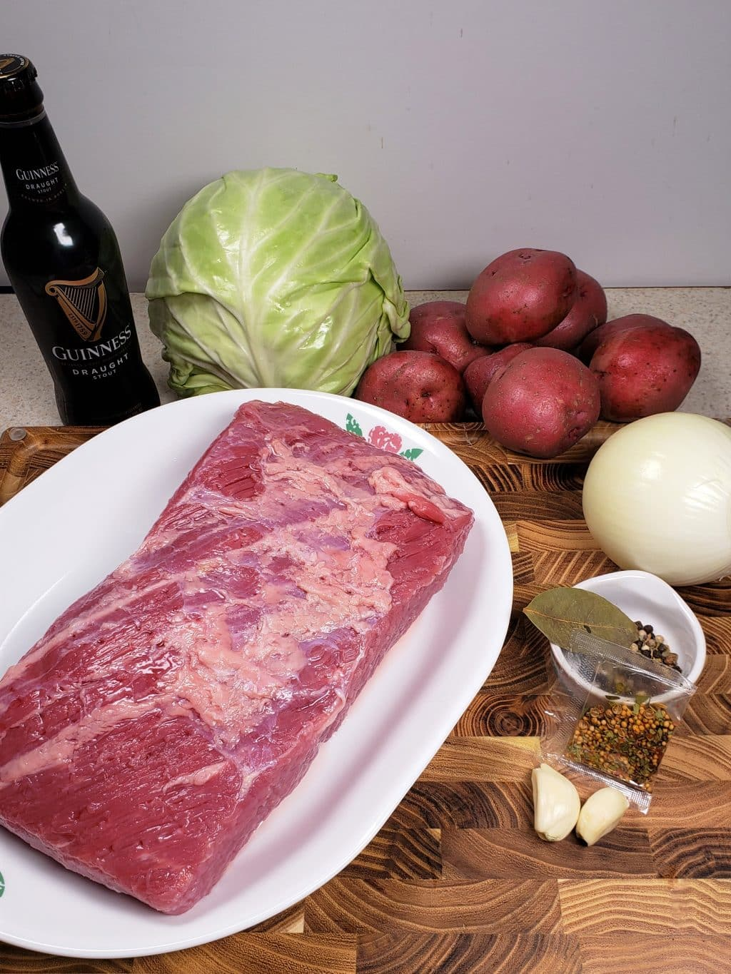 Cast of Ingredients for Instant Pot Corned Beef and Cabbage