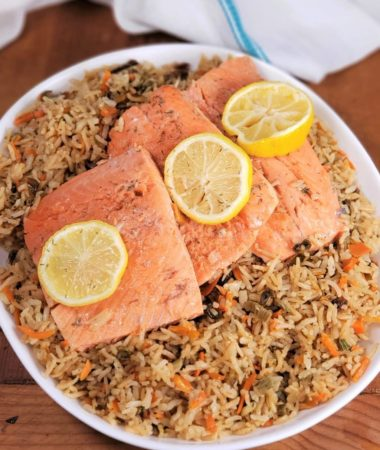 Instant Pot Salmon with Rice Pilaf