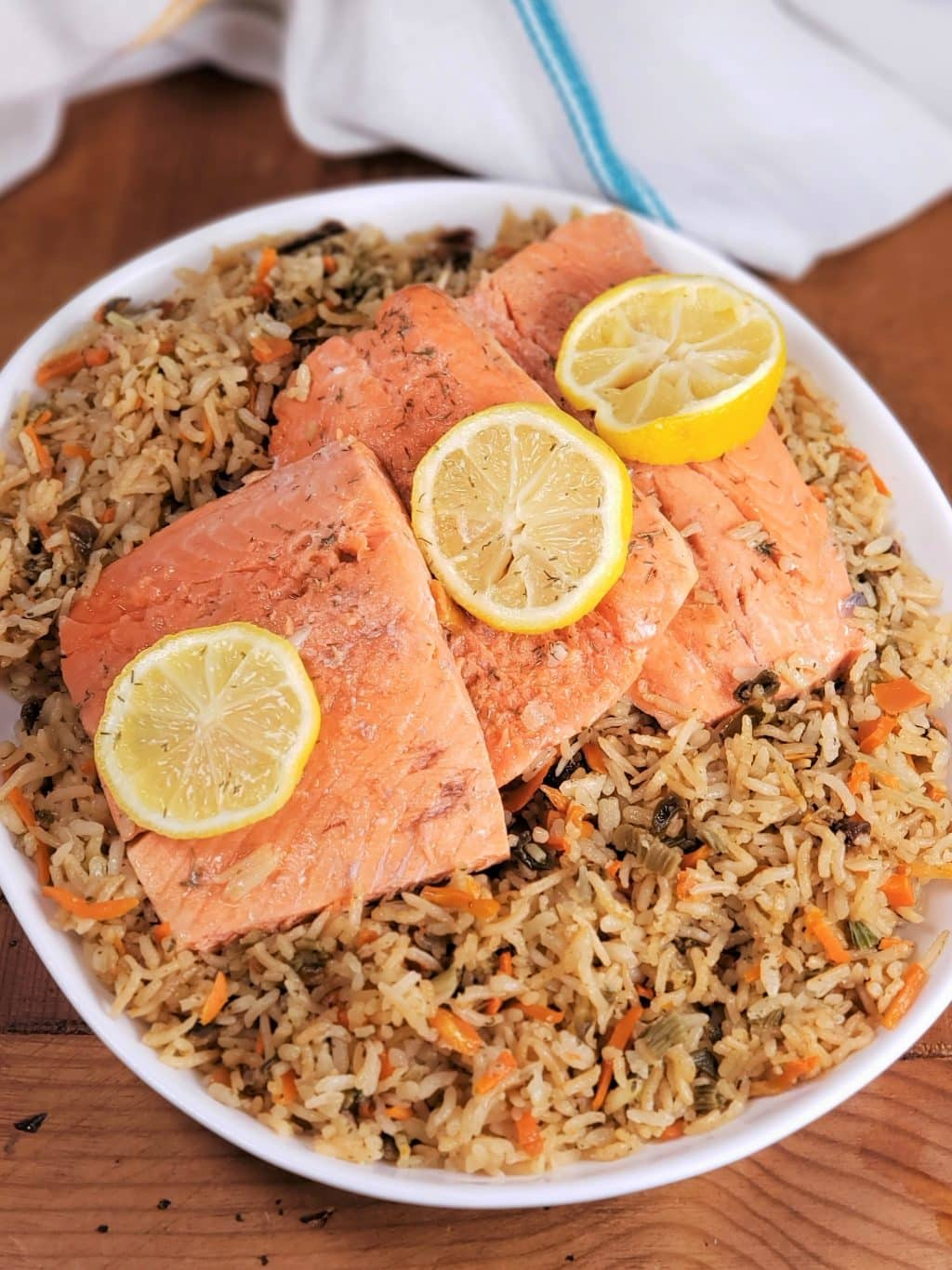 Instant Pot Salmon Rice Pilaf