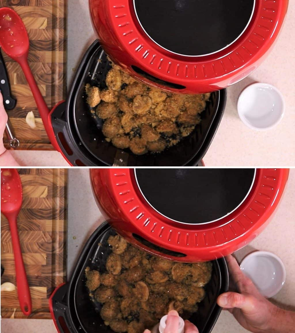 Add Garlic Mushrooms to Air Fryer Basket