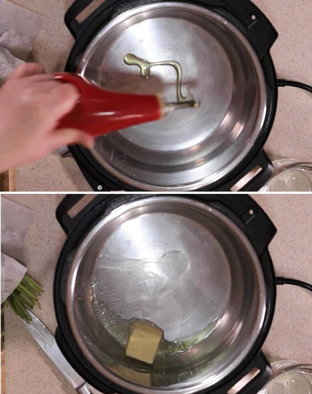 Add Olive Oil and Butter to Cooking Pot