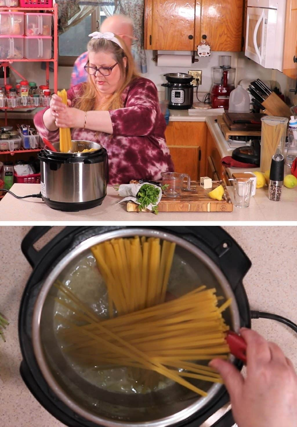 Add Fettuccine into Instant Pot