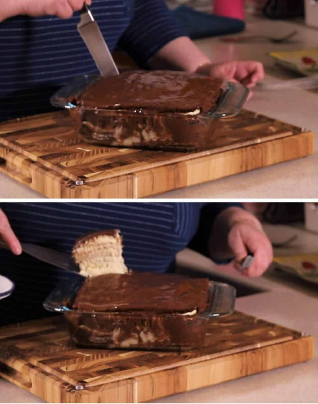 Cutting the Passover Matzo Icebox Cake