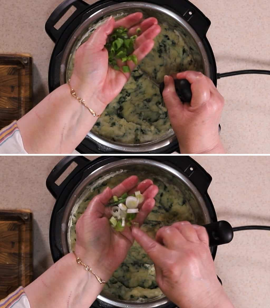 Lots of Chopped Scallions Give Great Flavor and Texture into Instant Pot Colcannon