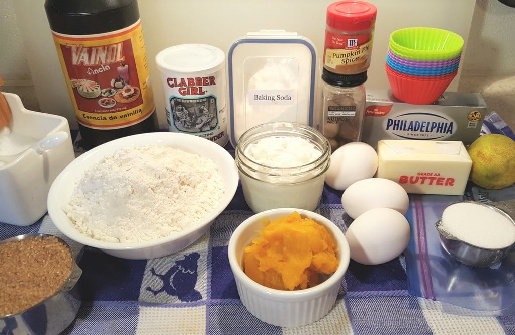 Cast of Ingredients for Instant Pot Pumpkin Cheesecake Muffin Bites