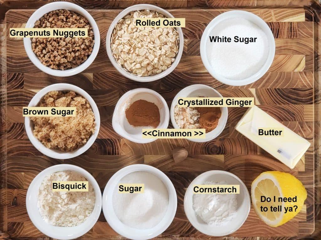 Cast of Ingredients for Instant Pot Apple Crisp