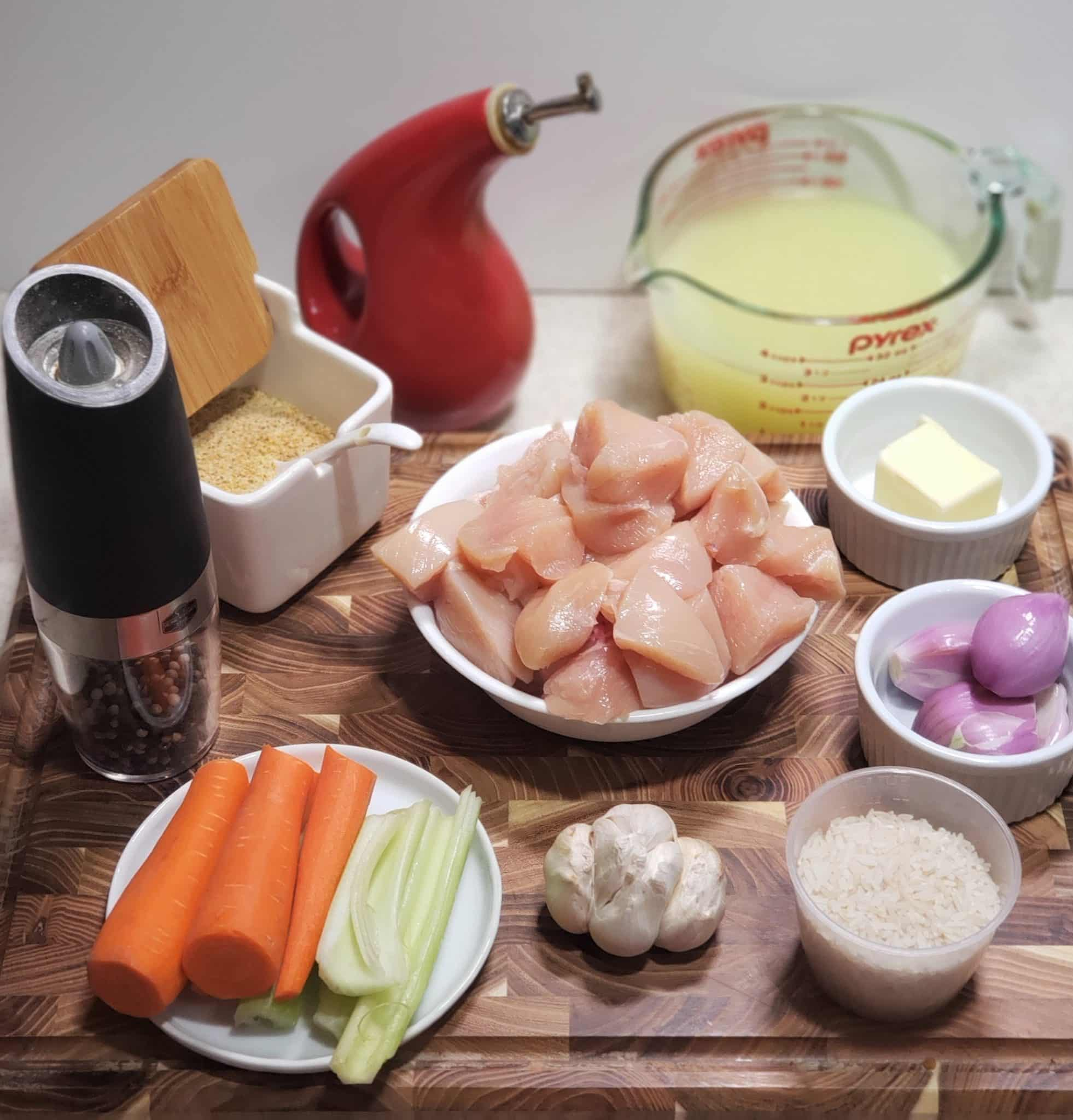 Cast of Ingredients for Instant Pot Chicken and Rice