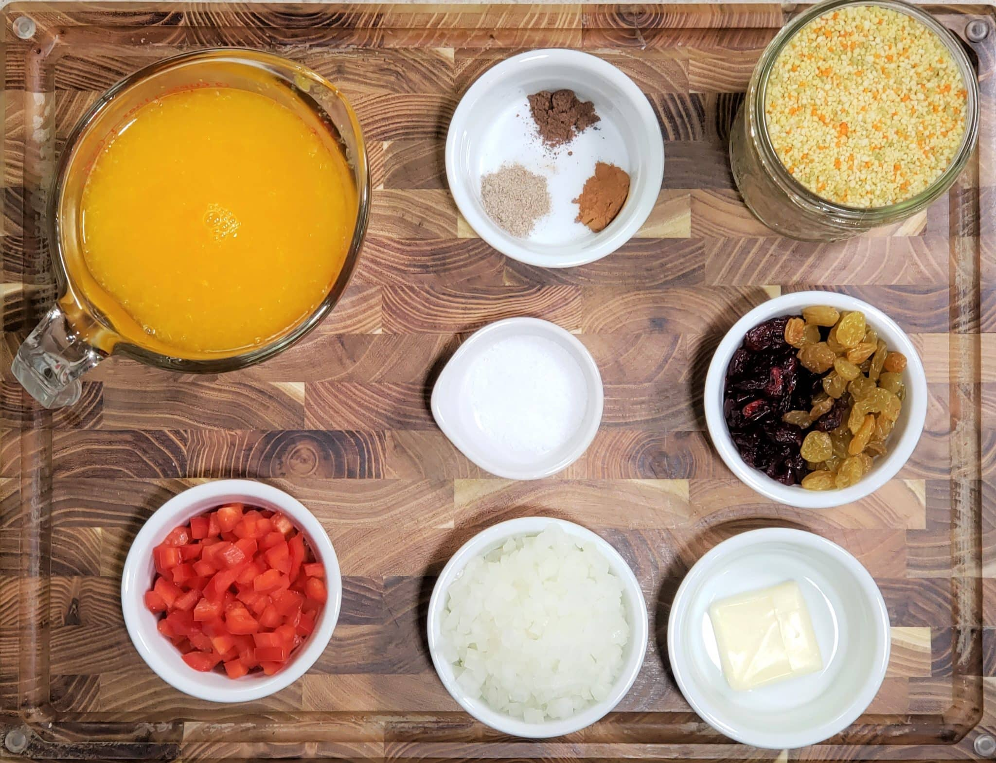 Cast of Ingredients for Instant Pot Cranberry Spice Couscous