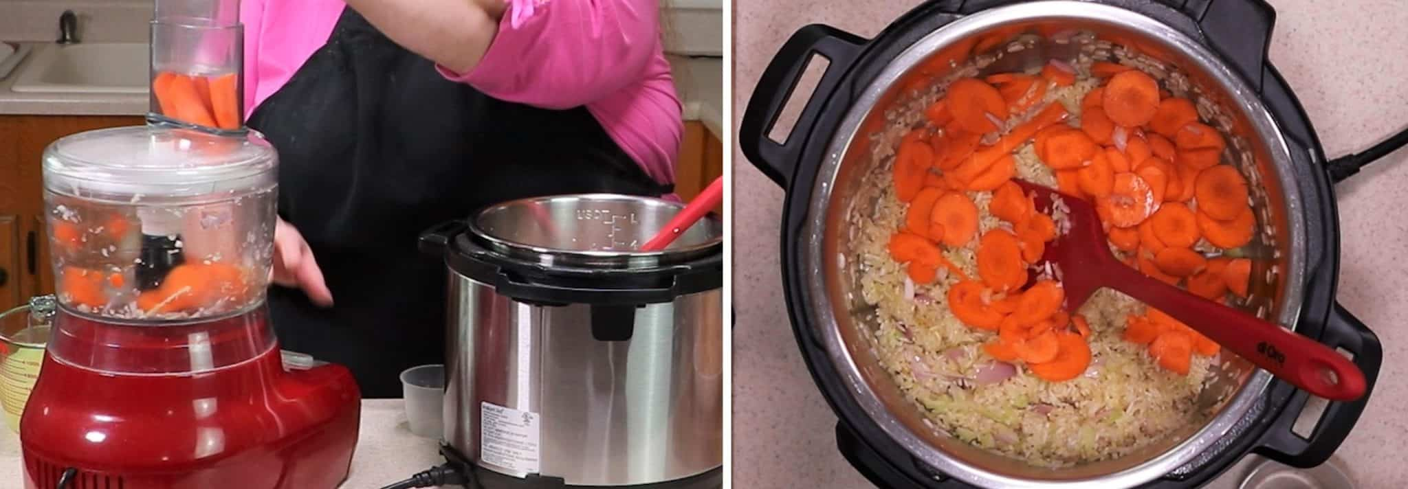 Food Processor Quickly Slices Raw Carrots