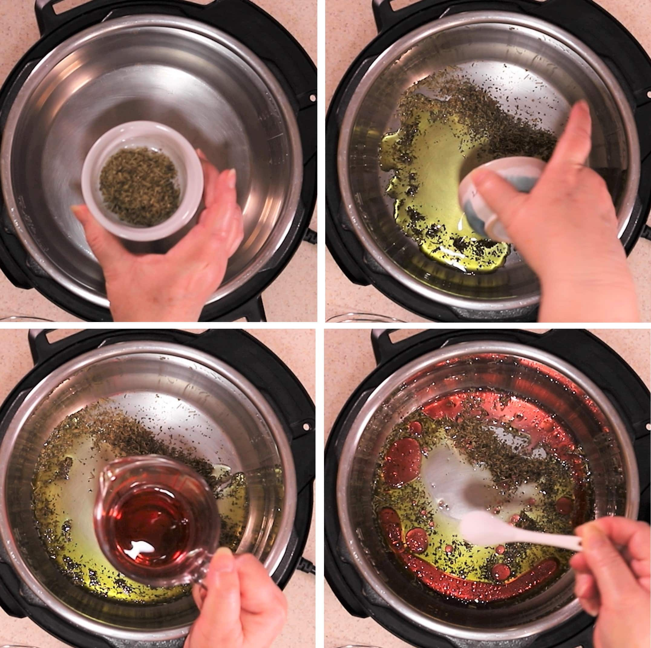 Photo of four steps adding Italian seasoning, oil, red vinegar and sugar into Instant Pot