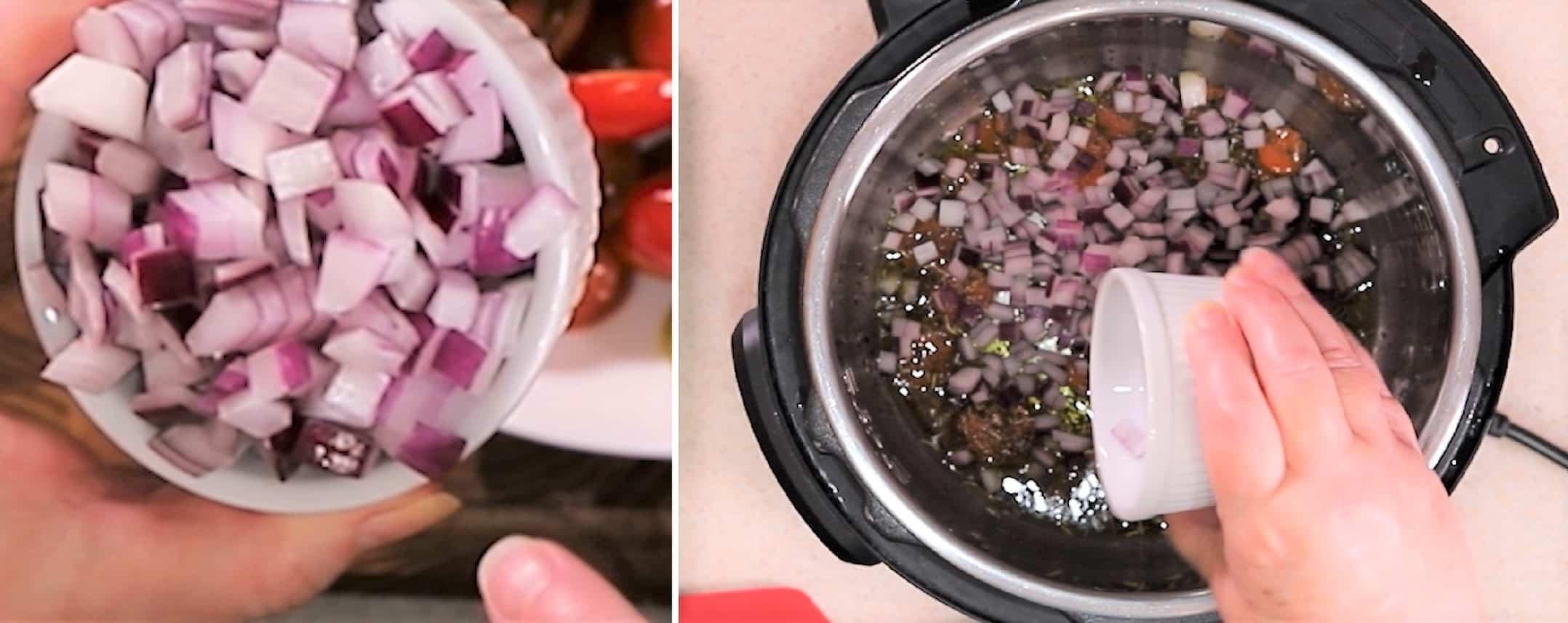Diced onions in a ramekin, getting dumped into pressure cooker