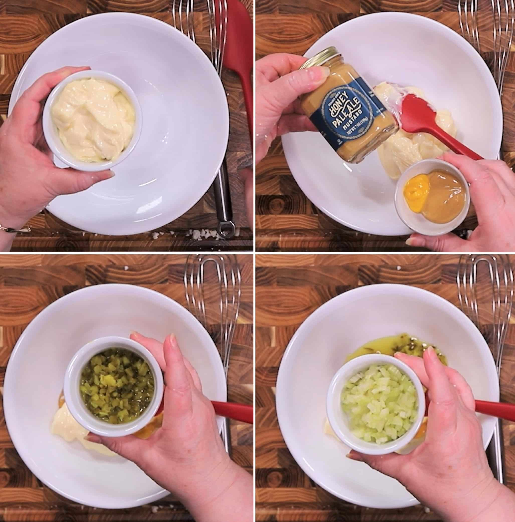 Four photos with a white bowl. First photo shows mayonnaise being added. Second bowl shows two yellow and pale ale mustard being added to the bowl. Third photo shows chopped pickles being added. Forth photo shows chopped celery being added to the bowl.