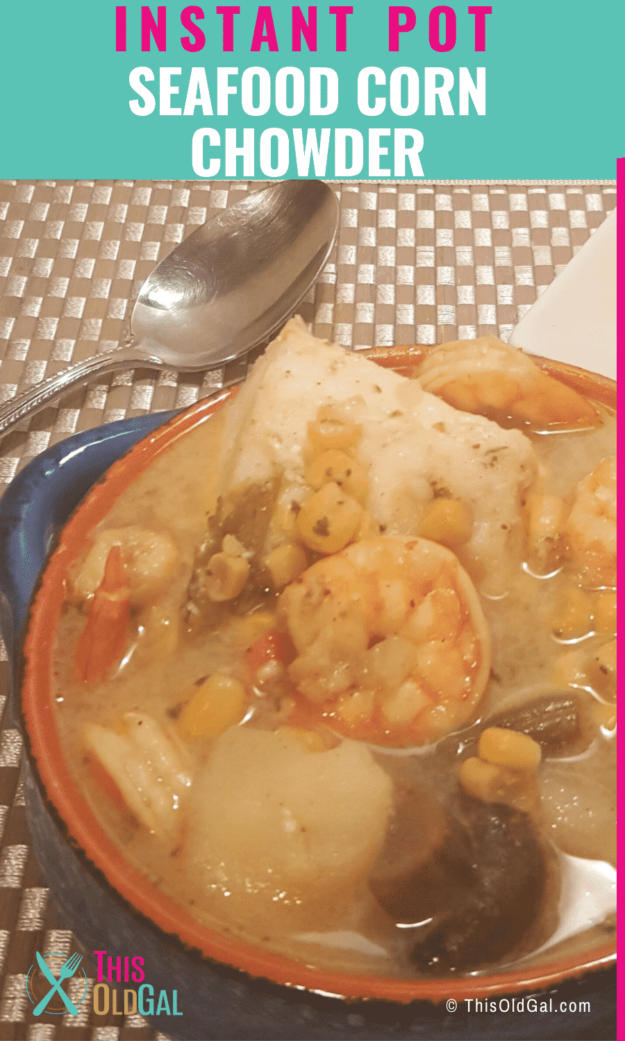 Plate of food with seafood corn chowder in it
