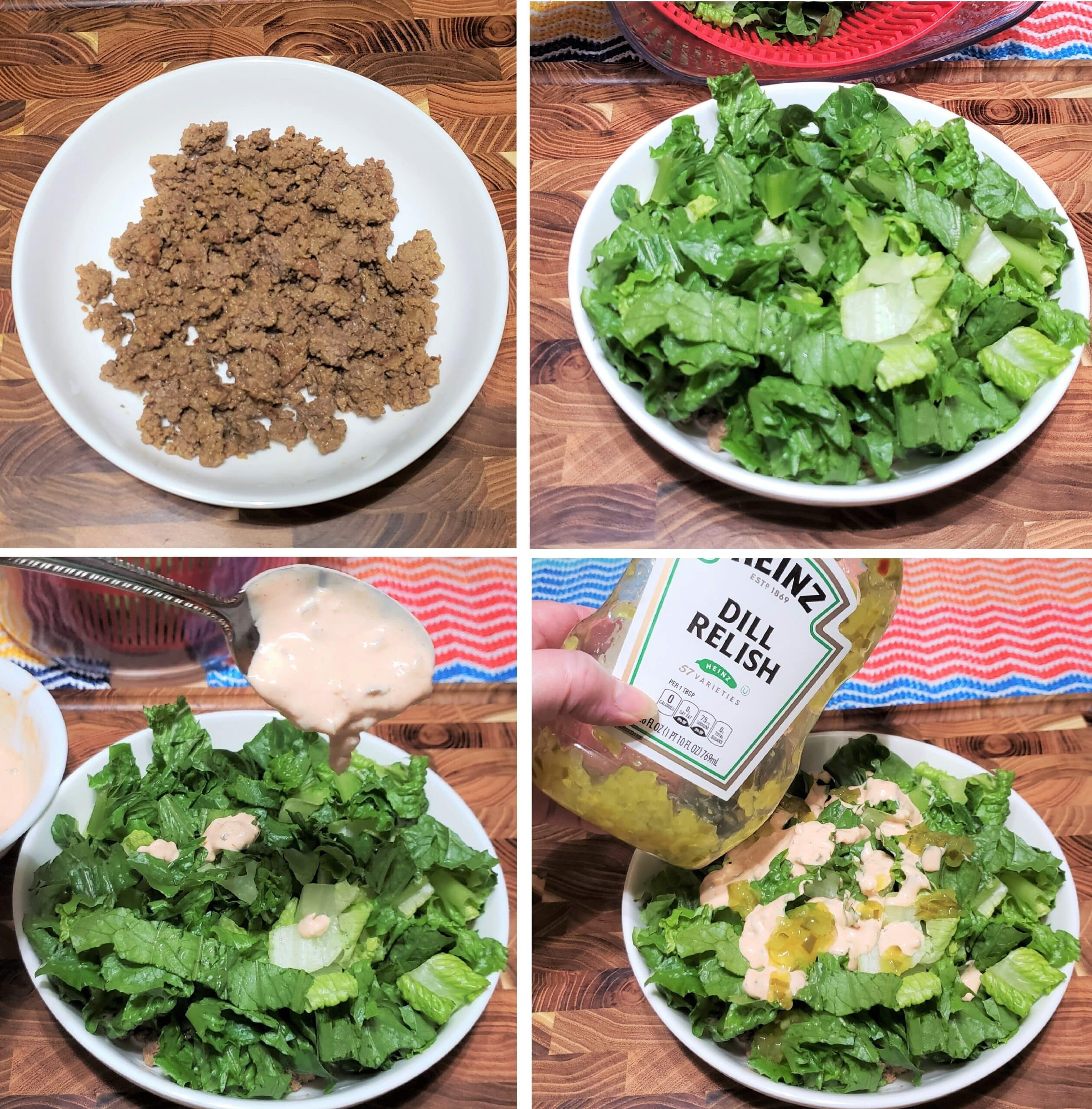 Layering on lettuce, dressing, relish and cheese