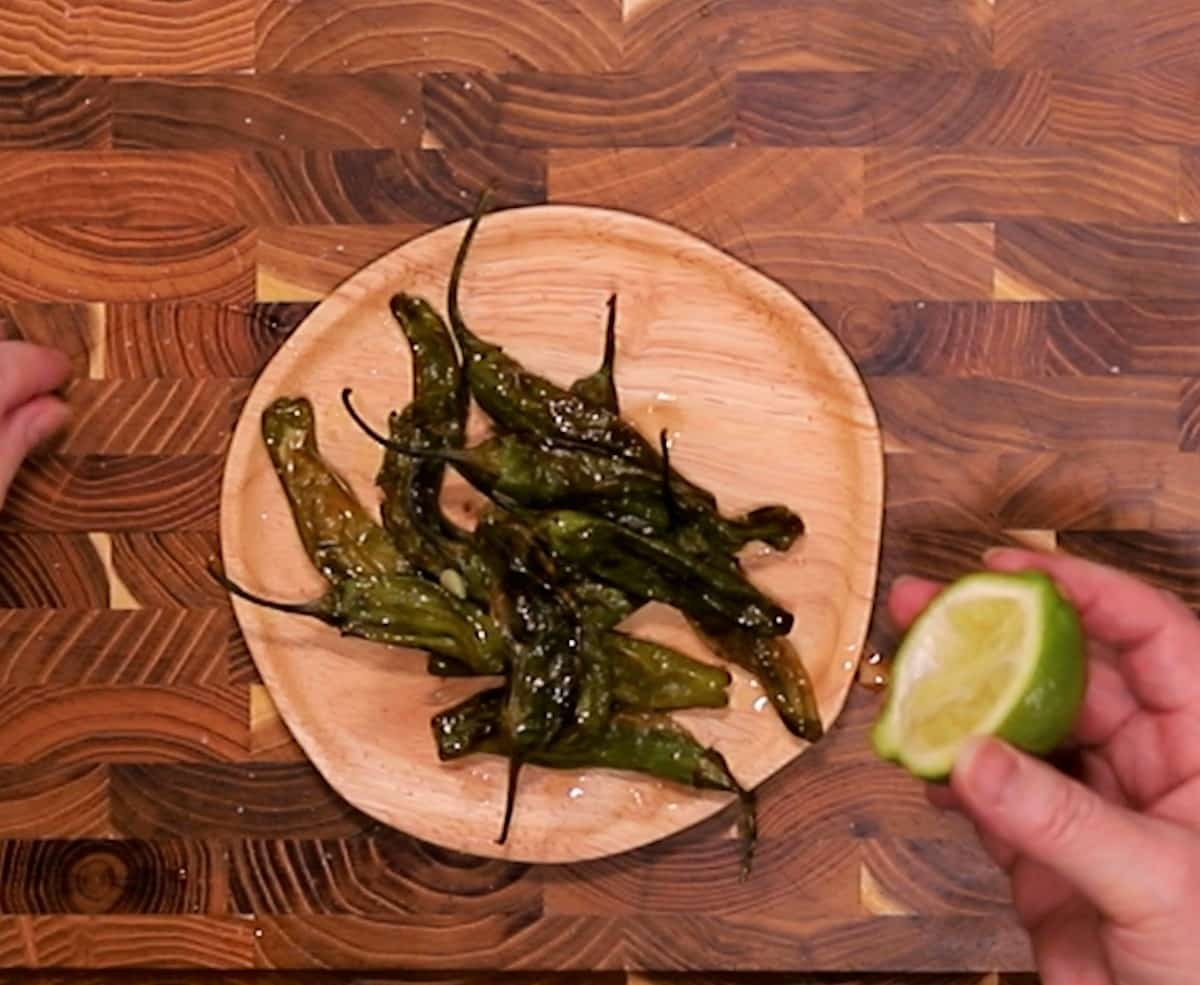 Squeeze Fresh Lime Juice Over Blistered Peppers