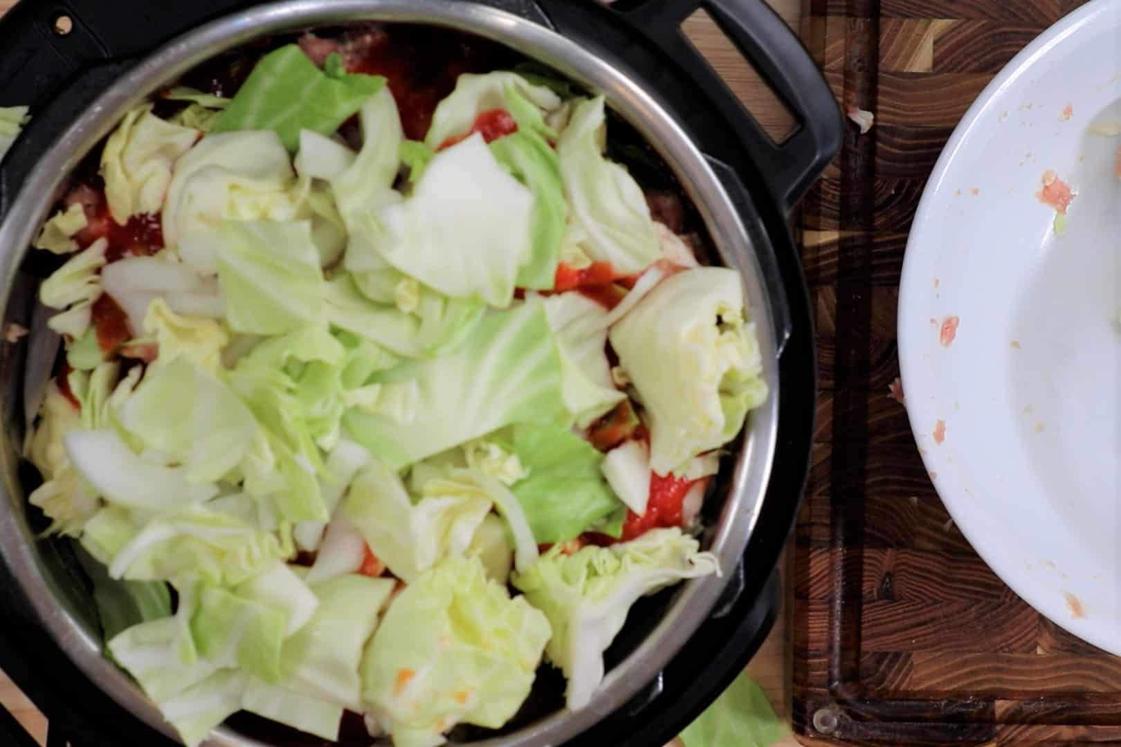 Full Instant Pot of Low Carb Unstuffed Cabbage Rolls